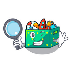 Detective cartoon toy boxes in a bedroom vector