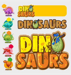 different designs with many dinosaurs vector image