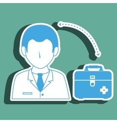 doctor wtih first aid kit isolated icon design vector image