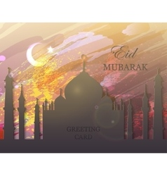 Eid Mubarak - watercolor mosque vector image
