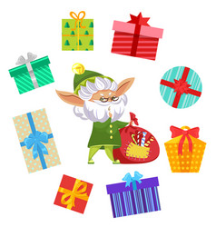 fairy with festive bag and gift box sign vector image