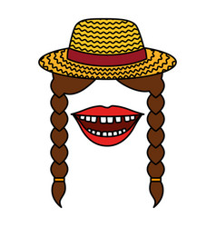 Female gardener straw hat with mouth and braids vector
