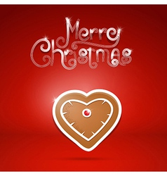 gingerbread heart and Merry Christmas title on red vector image