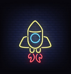 glowing in darkness neon rocket realistic vector image