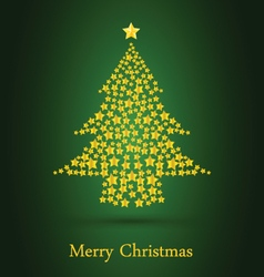 Gold Christmas Tree With Green Background vector image
