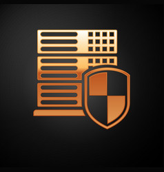 Gold server with shield icon isolated on black vector