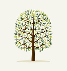 Green hand print tree environment vector