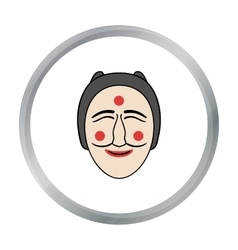 Hahoe mask icon in cartoon style isolated on white vector image