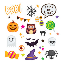 Happy halloween elements on white background vector