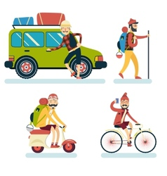 Happy Smiling Man Geek Hipster Character with Car vector image