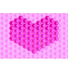 heart shape hexagons background vector image