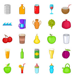 heavy drinking icons set cartoon style vector image