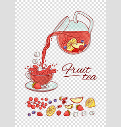 ice tea drink constructor fruits and vector image