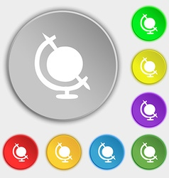 Icon world sign Symbol on eight flat buttons vector