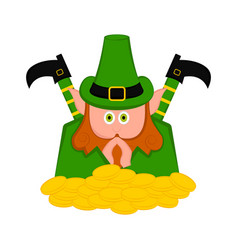 Irish elf with a gold coins vector