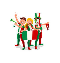 italians with italy flag symbol vector image
