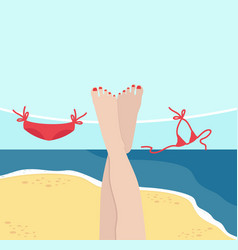 legs of woman with summer beach background vector image