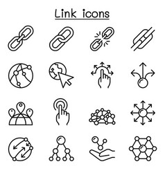 Link icon set in thin line style vector
