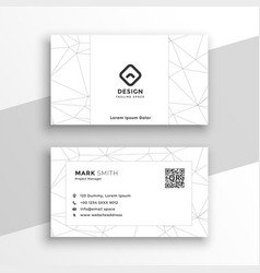 Low poly style geometric white business card vector