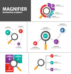 Magniflier presentation templates Infographic set vector