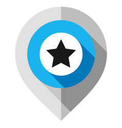 map pin symbol star pointer folded from gray vector image