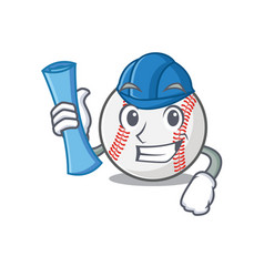 Mascot cartoon baseball in architect shape vector