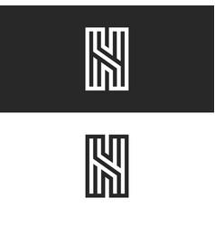 Monogram letter n logo calligraphic clean design vector