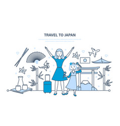 Mum with daughter travel to japan vector