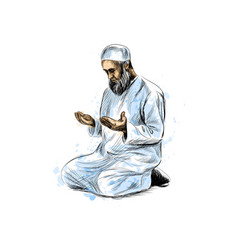 muslim man praying vector image