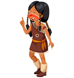 Native American Indian girl in brown costume vector