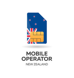 New zealand mobile operator sim card with flag vector