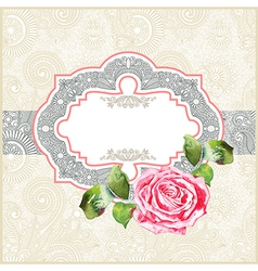 ornate floral pattern with watercolor rose vector image