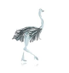 Ostrich sketch black for your design vector image