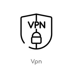 Outline vpn icon isolated black simple line vector
