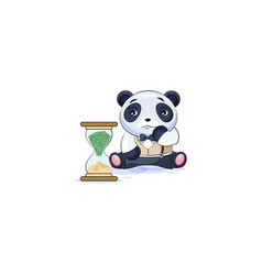 Panda in business suit sits at hourglass vector