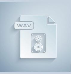 Paper cut wav file document download wav button vector