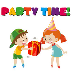Party scene with boy giving gift to girl vector