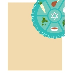 Passover seder flat icons greeting card template vector image