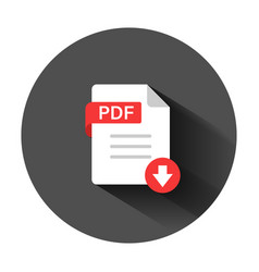 pdf icon in flat style document text on black vector image