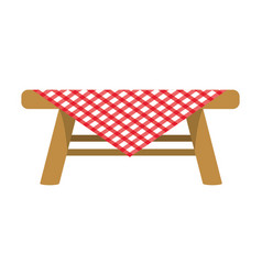 Picnic table with tablecloth vector