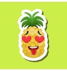 Pineapple In Love With Hearts In Eyes Cute Emoji vector image