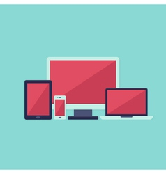 Pink and white flat technology devices set over vector