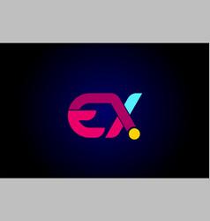 Pink blue alphabet letter ex e x combination for vector