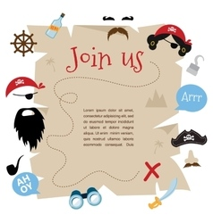 Pirate party invitation card design vector