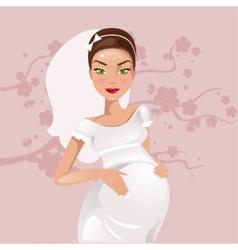 Pregnant bride vector