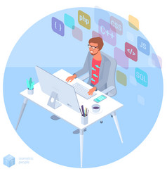 programmer at work vector image