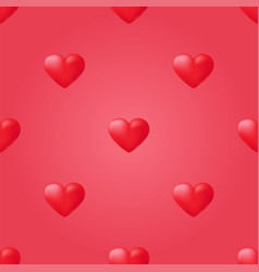 red heart seamless pattern background love vector image