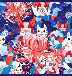 seamless bright floral pattern love puppies vector image