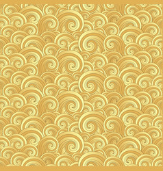 seamless pattern with golden painted waves vector image