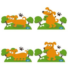 Set of happy cartoon dogs vector image